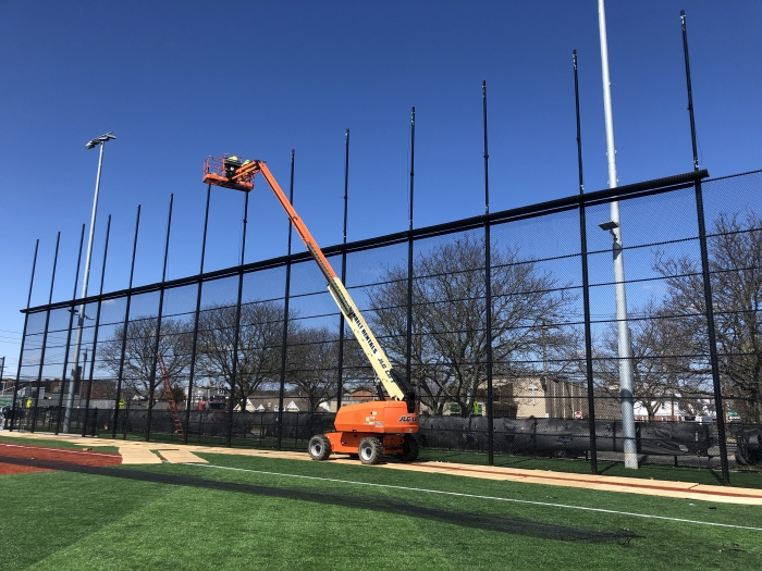 Baseball Field Fence with Netting on Top